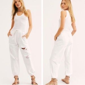 New Free People Sloane Destructed Joggers White